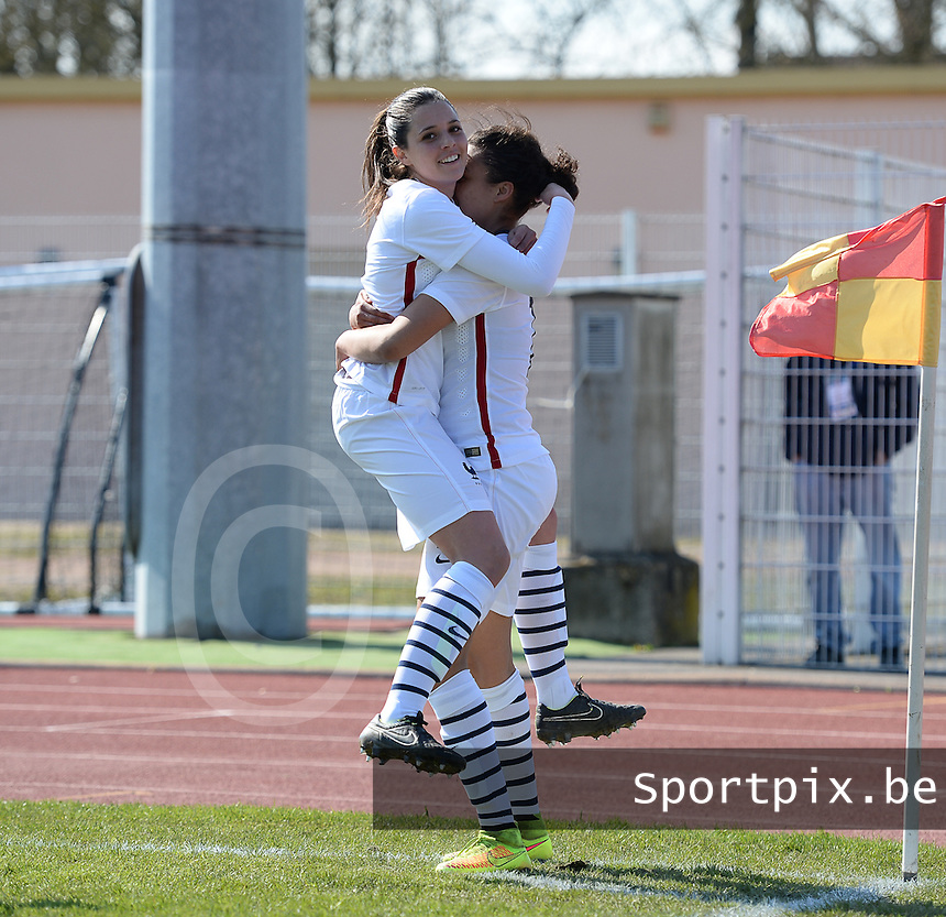 20150406 - OZOIR , FRANCE  : French Maeva Salomon (18)  pictured celebrating her goal with teammate Manon Uffren (6) and the French 1-0 lead during the soccer match between Women Under 19 teams of France and Romania , on the second matchday in group 3 of the UEFA Elite Round Women Under 19 at Stade des 3 Sapins , Ozoir La Ferriere , France . Monday 6th April 2015 . PHOTO DAVID CATRY
