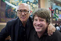 Me and composer Michael Nieman Nyman at the Covadonga cantina, Mexico City.  Photo by Kurt Hollander