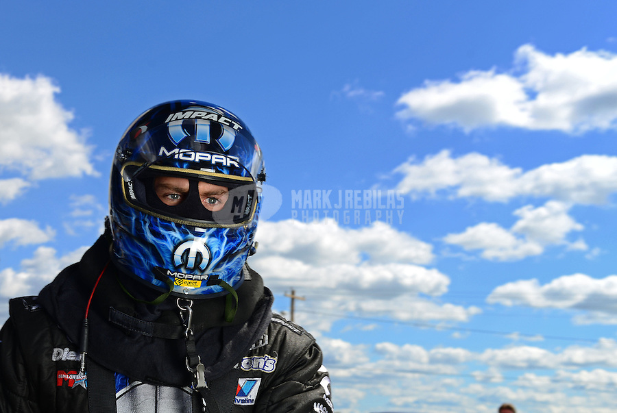Sept 8, 2012; Clermont, IN, USA: NHRA funny car driver Matt Hagan during qualifying for the US Nationals at Lucas Oil Raceway. Mandatory Credit: Mark J. Rebilas-