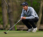 Kirkwood golfer Carson Postal lines up a putt at the 14th hole. Golfers in Suburban Central and Suburban XII Conference schools competed in a tournament at the Gateway National Golf Course in Madison, Illinois on Wednesday April 25, 2018.  Tim Vizer | Special to STLhighschoolsports.com
