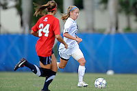 2 October 2011:  FIU midfielder/forward Nicole DiPerna (16) moves the ball upfield in the second half as the FIU Golden Panthers defeated the University of South Alabama Jaguars, 2-0, at University Park Stadium in Miami, Florida.