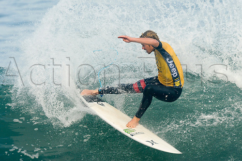 April 19th Bells Beach, Melbourne, Victoria, Australia; Rip Curl Pro Bells Beach Surfing; John John Florence (HAW) surfing a wave during his quarter final heat against Mick Fanning (AUS); John John Florence (HAW) went on to win the heat