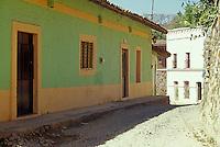 Restored buildings and cobblestone street in the old Spanish colonial mining town of Copala near Mazatlan, Sinaloa, Mexico