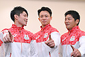 (L-R) Kohei Uchimura, Yusuke Tanaka, Koji Yamamuro (JPN), <br /> JULY 19, 2016 - Artistic Gymnastics : <br /> Japan Men's Artistic Gymnastics national team send-off press conference <br /> for the Rio 2016 Olympic Games in Tokyo, Japan. <br /> (Photo by AFLO SPORT)