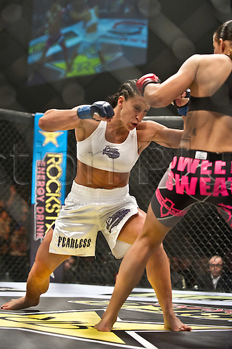 24.06.2011, Washinton, USA.   Julia Budd prepares to deliver a right jab against Germaine De Randamie during the STRIKEFORCE Challengers at the ShoWare Center in Kent, Washington. Budd won the fight in a unanimous decision.