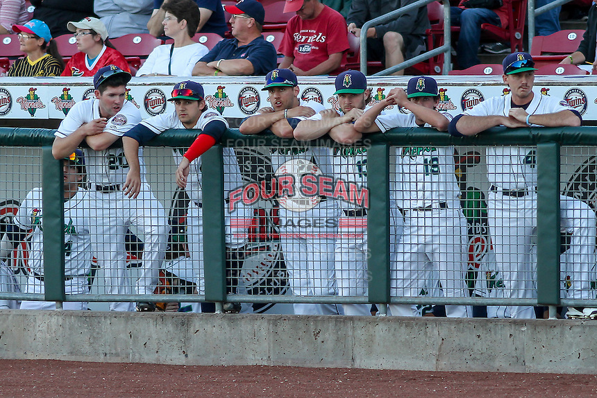 Cedar Rapids Kernels players watch from the dugout railing during game five of the Midwest League Championship Series against the West Michigan Whitecaps on September 21st, 2015 at Perfect Game Field at Veterans Memorial Stadium in Cedar Rapids, Iowa.  West Michigan defeated Cedar Rapids 3-2 to win the Midwest League Championship. (Brad Krause/Four Seam Images)