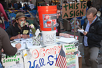 Protesters organize donations in Zuccotti Park during the Occupy Wall Street demonstration in New York City, New York.