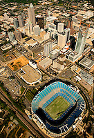 Aerial photography over Charlotte, NC, and the surrounding areas from May 2009. Photos by Charlotte photographer Patrick Schneider Photography. Photo of the Charlotte skyline and downtown Charlotte, NC, with Bank of America stadium in the foreground.