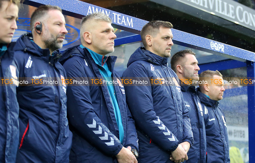 Jonathan Woodgate manager of Middlesbrough and his staff during Queens Park Rangers vs Middlesbrough, Sky Bet EFL Championship Football at Loftus Road Stadium on 9th November 2019