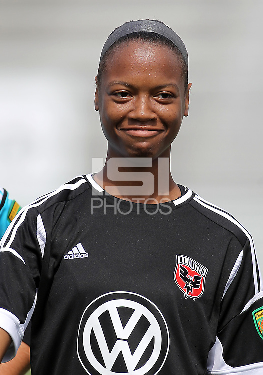 BOYDS, MARYLAND - July 22, 2012:  Maddy Brown (4) of DC United Women before the game against the Charlotte Lady Eagles during the W League Eastern Conference Championship match at Maryland Soccerplex, in Boyds, Maryland on July 22. DC United Women won 3-0.