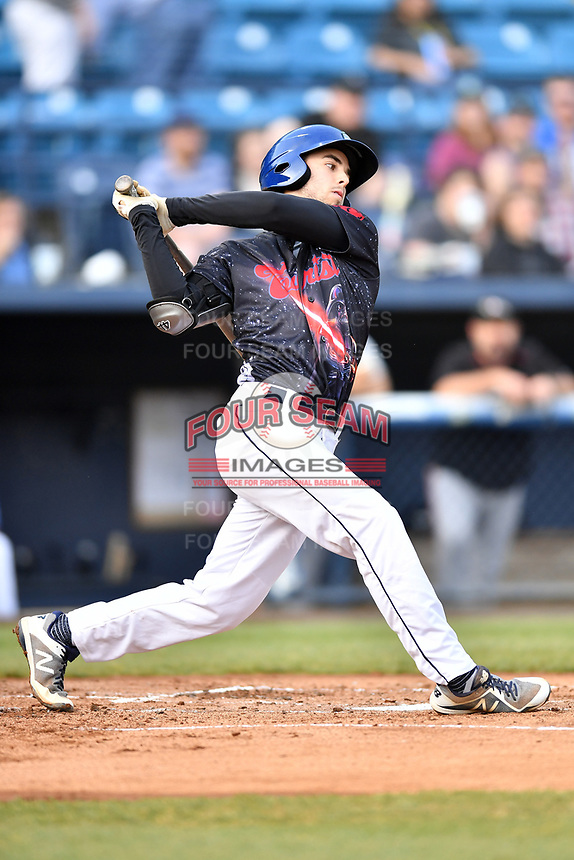 Asheville Tourists shortstop Terrin Vavra (6) swings at a pitch during a game against the Delmarva Shorebirds at McCormick Field on May 4, 2019 in Asheville, North Carolina. The Shorebirds defeated the Tourists 4-0. (Tony Farlow/Four Seam Images)