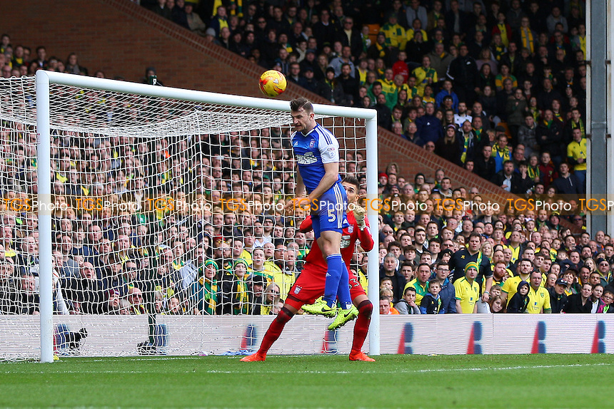 Tommy Smith of Ipswich Town heads the ball away from goal during Norwich City vs Ipswich Town, Sky Bet EFL Championship Football at Carrow Road on 26th February 2017