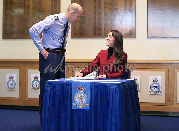 14 February 2017 - Princess Kate Duchess of Cambridge during a visit to the RAF Air Cadets at RAF Wittering in Stamford, Lincolnshire.  The Duchess of Cambridge is Royal Patron and Honorary Air Commandant of the Air Cadet Organisation. Photo Credit: ALPR/AdMedia