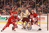 Patrick Harper (BU - 21), Brandon Hickey (BU - 4), Graham McPhee (BC - 27), JD Dudek (BC - 15), Jake Oettinger (BU - 29) - The Boston University Terriers defeated the Boston College Eagles 3-1 in their opening Beanpot game on Monday, February 6, 2017, at TD Garden in Boston, Massachusetts.