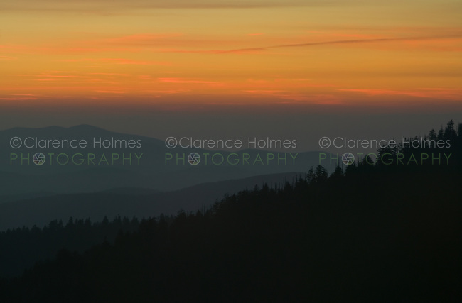 Clouds glow bright orange just after sunset from Clingman's Dome, Great Smoky Mountains National Park