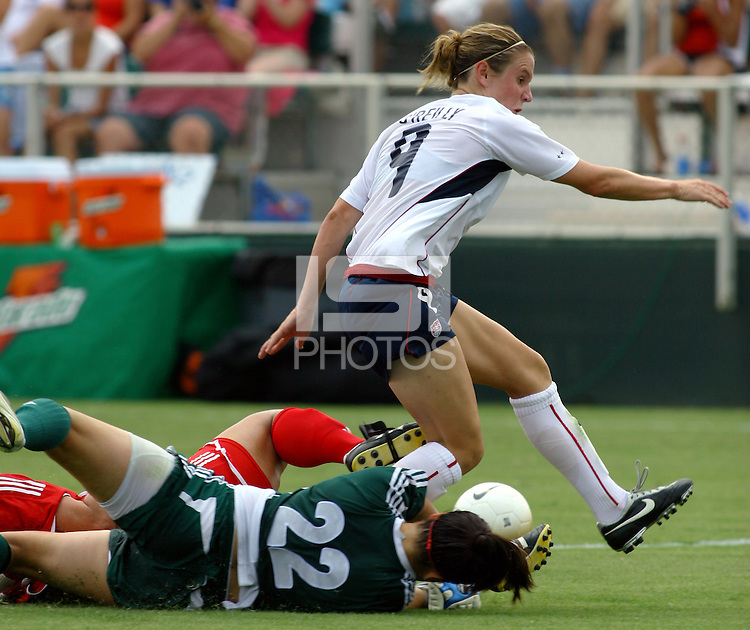 Heather O'Reilly's shot is saved by Canada's GK Erin McLeod. The USA defeated Canada 2-0 at SAS Stadium in Cary, NC on Sunday, July 30, 2006.