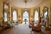 The drawing room was remodelled by the Rev. Charles Prideaux-Brune in the early 19th century, with Gothic editions such as the plasterwork cornice and ceiling rose