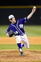 High Point Panthers relief pitcher Will Resnik (19) delivers a pitch to the plate against the Charlotte 49ers at Willard Stadium on February 20, 2013 in High Point, North Carolina.  The 49ers defeated the Panthers 12-3.  (Brian Westerholt/Four Seam Images)