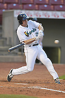 Cedar Rapids Kernels A.J. Murray (25) swings during the game against the Clinton LumberKings at Veterans Memorial Stadium on April 14, 2016 in Cedar Rapids, Iowa.  The Kernels won 7-3.  (Dennis Hubbard/Four Seam Images)
