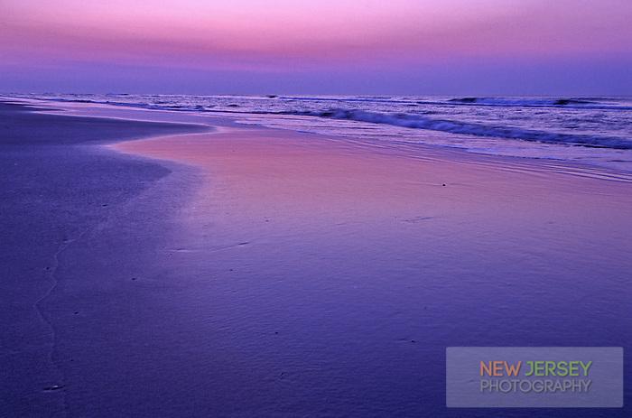 Atlantic Ocean and incoming tide.  Ocean City, New Jersey