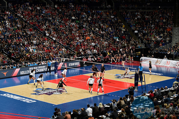 COLUMBUS, OH - DECEMBER 17:  Jenna Gray (1) of Stanford University serves against the University of Texas during the Division I Women's Volleyball Championship held at Nationwide Arena on December 17, 2016 in Columbus, Ohio.  Stanford defeated Texas 3-1 to win the national title. (Photo by Jamie Schwaberow/NCAA Photos via Getty Images)