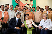 United States President Barack Obama and Secretary of State Hillary Rodham Clinton are photographed with Aung San Suu Kyi and her staff at her residence in Rangoon, Burma, November 19, 2012. .Mandatory Credit: Pete Souza - White House via CNP