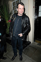 """JAMES PUREFOY .Departed after the first preview performance of """"Flare Path"""", Haymarket, London, England, UK, 4th March 2011..full length black jacket leather hand in pocket .CAP/CAN.©Can Nguyen/Capital Pictures."""