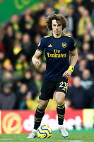 1st December 2019; Carrow Road, Norwich, Norfolk, England, English Premier League Football, Norwich versus Arsenal; David Luiz of Arsenal - Strictly Editorial Use Only. No use with unauthorized audio, video, data, fixture lists, club/league logos or 'live' services. Online in-match use limited to 120 images, no video emulation. No use in betting, games or single club/league/player publications