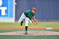 Greensboro Grasshoppers starting pitcher Jordan Holloway (14) delivers a pitch during a game against the Asheville Tourists at McCormick Field on April 28, 2017 in Asheville, North Carolina. The Grasshoppers defeated the Tourists 3-2. (Tony Farlow/Four Seam Images)