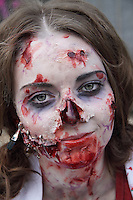 Headshot of a female participant at the prague zombi walk in may 2014.
