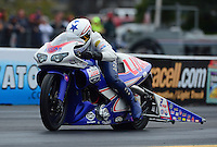 Oct. 8, 2012; Mohnton, PA, USA: NHRA pro stock motorcycle rider Hector Arana Jr during the Auto Plus Nationals at Maple Grove Raceway. Mandatory Credit: Mark J. Rebilas-