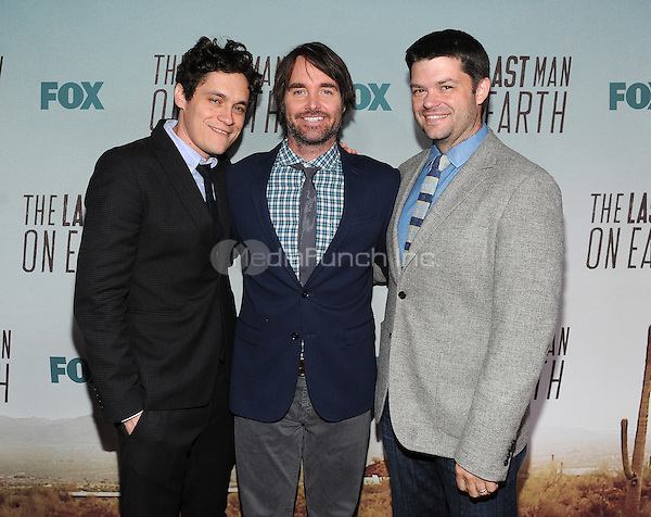 LOS ANGELES - FEBRUARY 24: Will Forte and Executive Producers Phil Lord (L) and Chris Miller (R) arrive at an exclusive screening of the premiere episode of FOX's 'The Last Man on Earth' at Big Daddy's Antique Shop on February 24, 2015 in Los Angeles, California. Credit: PGFM/MediaPunch