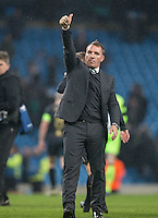 Celtic Manager Brendan Rogers gives Celtic supporters a thumb up during the UEFA Champions League GROUP match between Manchester City and Celtic at the Etihad Stadium, Manchester, England on 6 December 2016. Photo by Andy Rowland.