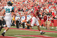 Hawgs Illustrated/BEN GOFF <br /> Jeremy Patton, Arkansas tight end, scores a two point conversion against Coastal Carolina in the third quarter Saturday, Nov. 4, 2017, at Reynolds Razorback Stadium in Fayetteville.