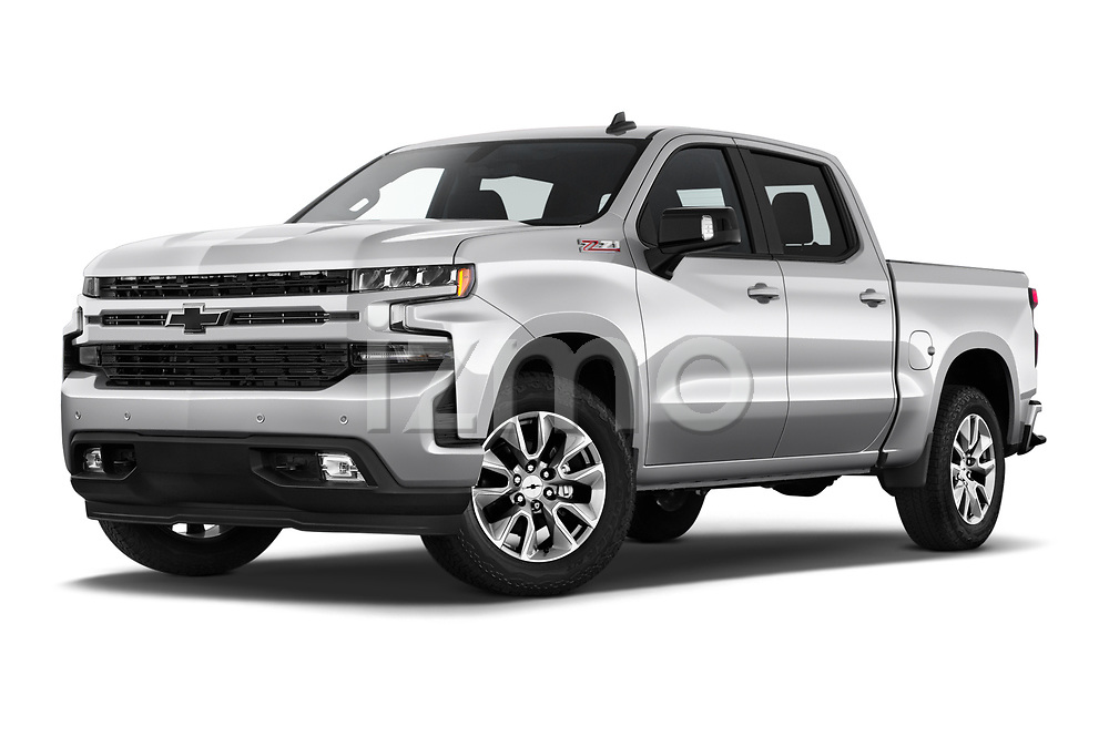 Stock pictures of low aggressive front three quarter view of 2019 Chevrolet Silverado-1500 RST 4 Door Pick-up Low Aggressive