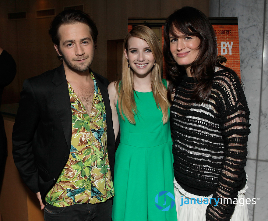 "BEVERLY HILLS, CA - JUNE 06:  Michael Angarano, Emma Roberts and Elizabeth Reaser attend a Fox Searchlight screening Of ""The Art Of Getting By"" at Clarity Theater on June 6, 2011 in Beverly Hills, California.  (Photo by Todd Williamson/WireImage)"