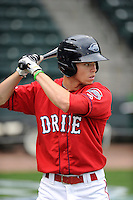Outfielder Mike Meyers (2) of the Greenville Drive during a Media Day first workout of the season on Tuesday, April 7, 2015, at Fluor Field at the West End in Greenville, South Carolina. (Tom Priddy/Four Seam Images)
