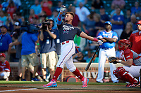 Will Banfield (11) of Brookwood High School in Lawrenceville, Georgia during the Home Run Derby before the Under Armour All-American Game presented by Baseball Factory on July 29, 2017 at Wrigley Field in Chicago, Illinois.  (Mike Janes/Four Seam Images)