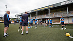 Rangers team arrives at Alloa's Indodrill Stadium to train on their synthetic surface ahead of the match on Sunday