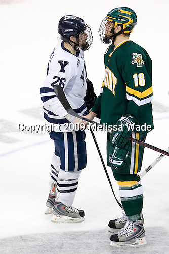 Mark Arcobello (Yale - 26), Viktor Stalberg (Vermont - 18) - The University of Vermont Catamounts defeated the Yale University Bulldogs 4-1 in their NCAA East Regional Semi-Final match on Friday, March 27, 2009, at the Bridgeport Arena at Harbor Yard in Bridgeport, Connecticut.