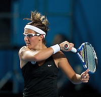 Kirsten Flipkens (BEL) against Justine Henin (BEL) in the first round of the Ladies Singles. Henin beat Flipkens 6-4 6-3 ..International Tennis - Australian Open Tennis - Mon 18 Jan 2010 - Melbourne Park - Melbourne - Australia ..© Frey - AMN Images, 1st Floor, Barry House, 20-22 Worple Road, London, SW19 4DH.Tel - +44 20 8947 0100.mfrey@advantagemedianet.com