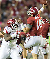 NWA Democrat-Gazette/JASON IVESTER <br /> Arkansas defensive lineman Armon Watts (86) rushes Alabama quarterback Jake Coker (14) during the second quarter on Saturday, Oct. 10, 2015, at Bryant-Denny Stadium in Tuscaloosa, Ala.