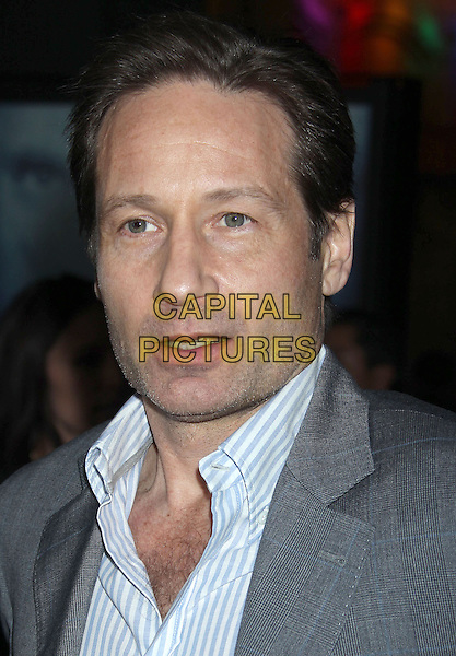 David Duchovny.'Phantom' Los Angeles premiere, Chinese Theater,  Hollywood, California 27 February 2013 .headshot portrait grey gray suit shirt white blue stripe mouth open.CAP/ADM/RE.©Russ Elliot/AdMedia/Capital Pictures