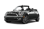 Stock pictures of low aggressive front three quarter view of a 2015 MINI Mini Cooper S 2 Door Convertible Low Aggressive