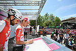 Thomas De Gendt and Victor Campenaerts (BEL) Lotto-Soudal at sign on before Stage 19 of the 2019 Giro d'Italia, running 151km from Treviso to San Martino di Castrozza, Italy. 31st May 2019<br /> Picture: Massimo Paolone/LaPresse | Cyclefile<br /> <br /> All photos usage must carry mandatory copyright credit (© Cyclefile | Massimo Paolone/LaPresse)