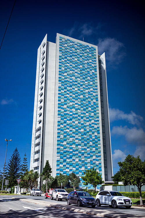 A tall highrise building on the gold coast in Australia