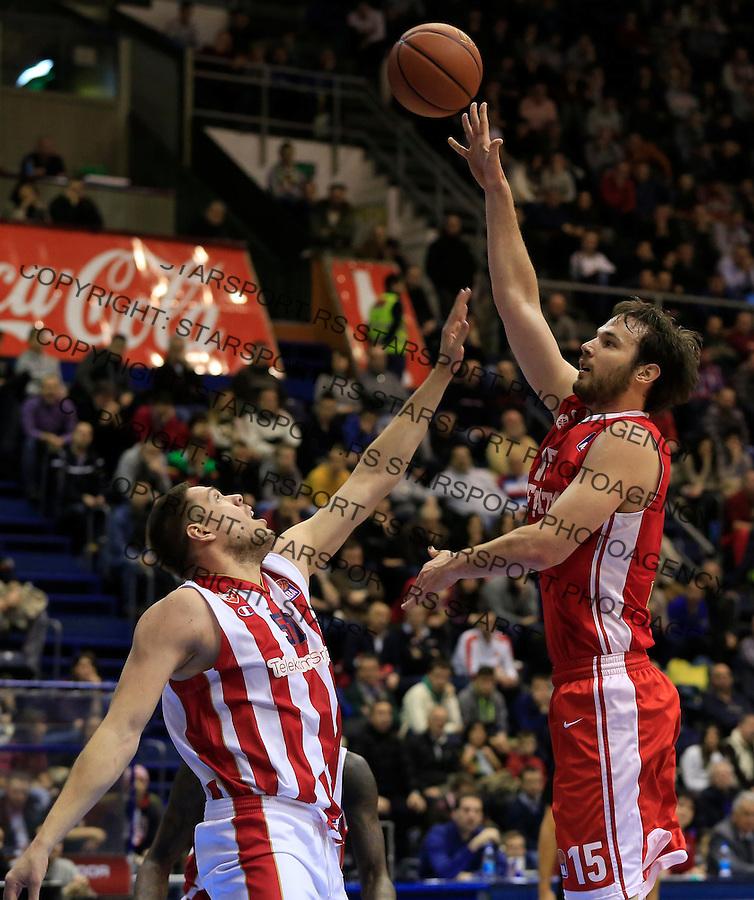 Kosarka ABA League season 2015-2016<br /> Crvena Zvezda v Cedevita<br /> Miro Bilan (R) and Vladimir Stimac<br /> Beograd, 04.01.2015.<br /> foto: Srdjan Stevanovic/Starsportphoto&copy;