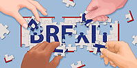 Hands cooperating to solve 'Brexit' jigsaw puzzle