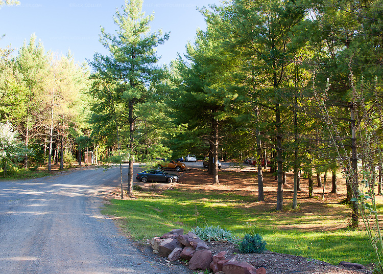 Hidden Brook Winery has a large and well-maintained gravel parking lot.