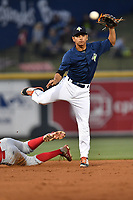 Shortstop Andres Jimenez (4) of the Columbia Fireflies plays defense in a game against the Lakewood BlueClaws on Saturday, May 6, 2017, at Spirit Communications Park in Columbia, South Carolina. Lakewood won, 1-0 with a no-hitter. (Tom Priddy/Four Seam Images)